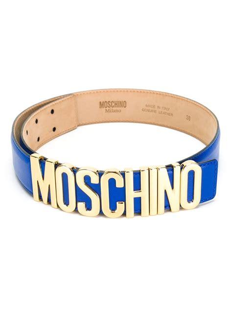 Moschino Belt moschino logo plaque belt in blue lyst