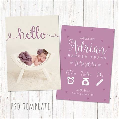 birth announcement template card digital baby girl birth