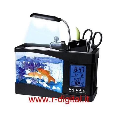 fish tank desk organizer acquario mini usb da scrivania tavolo lada led