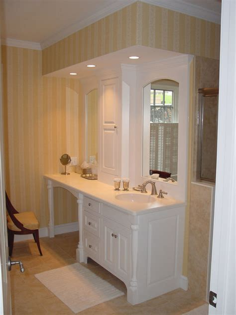 Bathroom Cabinets With Makeup Vanity Bathroom Vanity Makeup Area Traditional Bathroom
