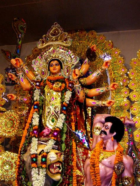 durga destroying the demon king a photo from west bengal