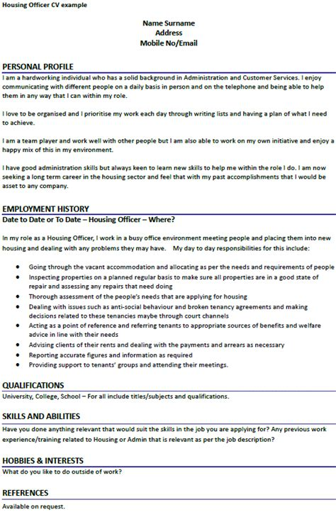 cover letter for housing officer housing officer cv exle forums learnist org