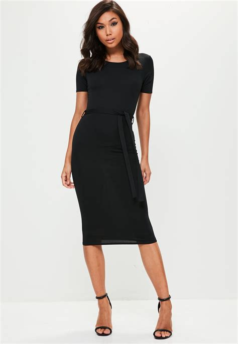 Tie Waist Sleeve Dress lyst missguided black sleeve tie waist midi dress