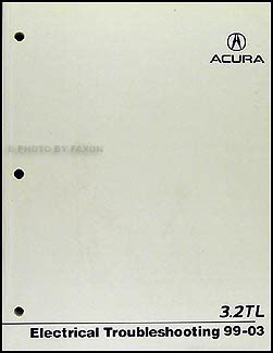 1996 acura 3 2 tl electrical troubleshooting manual 1999 2003 acura 3 2 tl electrical troubleshooting manual original