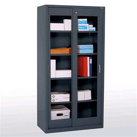 Sliding Door Storage Cabinet by Sandusky Bv4s361872 Clear View Sliding Door Cabinet