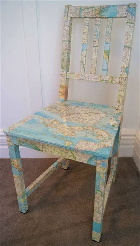 decoupage maps on furniture map chair decoupage recycle furniture diy ideas