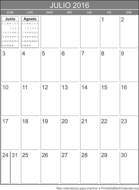 Calendario Julio Julio 2016 Calendario Para Imprimir Calendarios Para