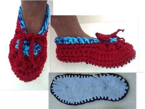 how to make fabric slippers crochet slippers worked on fabric soles how to diy