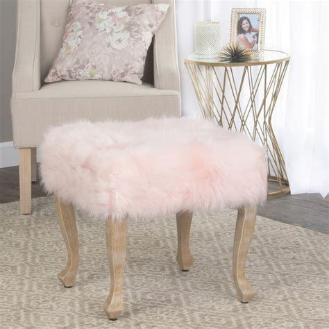blush pink fur chair homepop faux fur blush square stool wood legs homepop