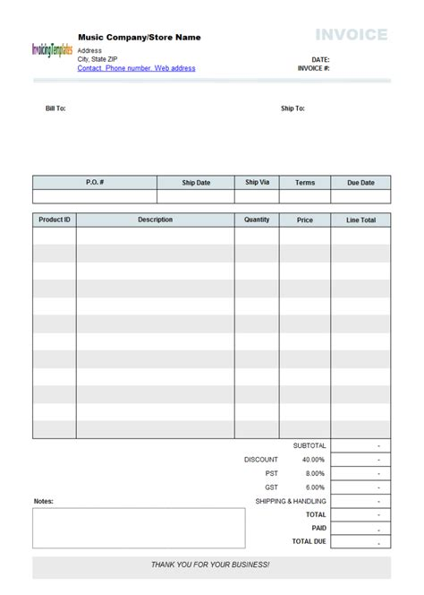 gratis template best photos of editable invoice template pdf