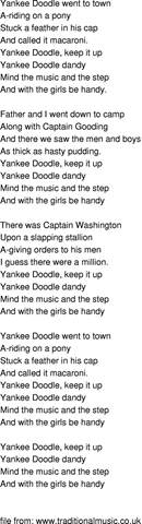 doodle doodle song time song lyrics yankee doodle
