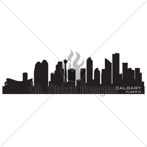 Calgary Outline by Calgary Canada Skyline Detailed Silhouette 183 Gl Stock Images