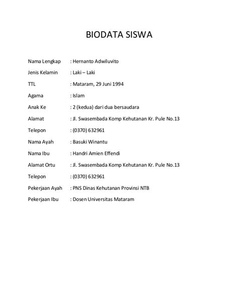 format biodata siswa lengkap biodata siswa