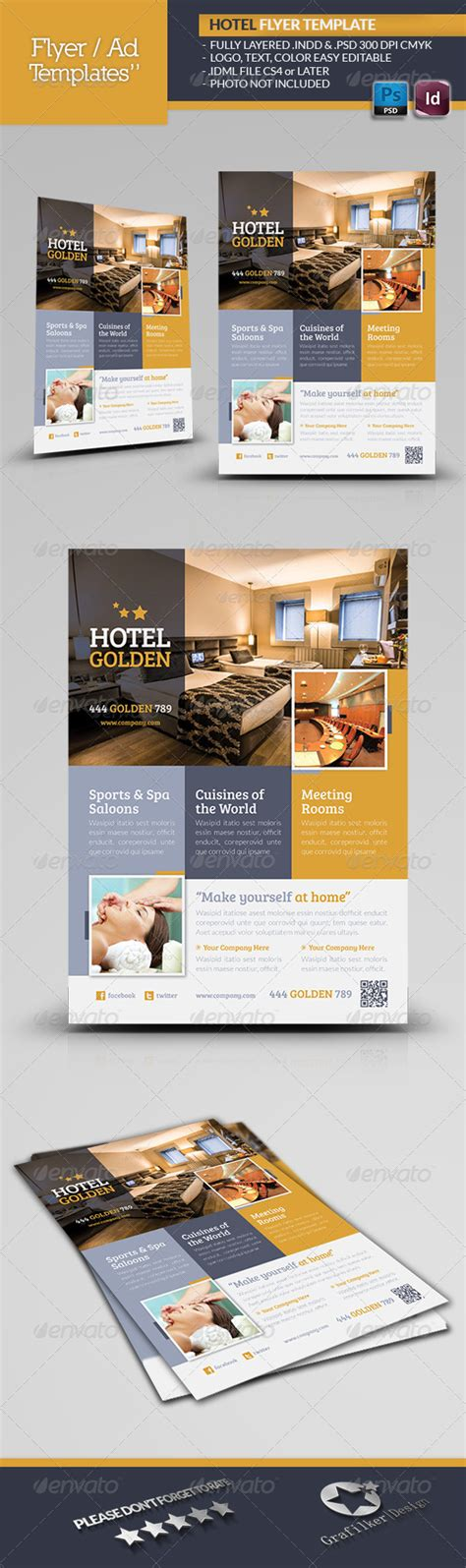 template flyer hotel hotel golden flyer template 4965721 stock vector