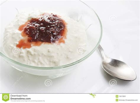 jam with cottage cheese white stock image image