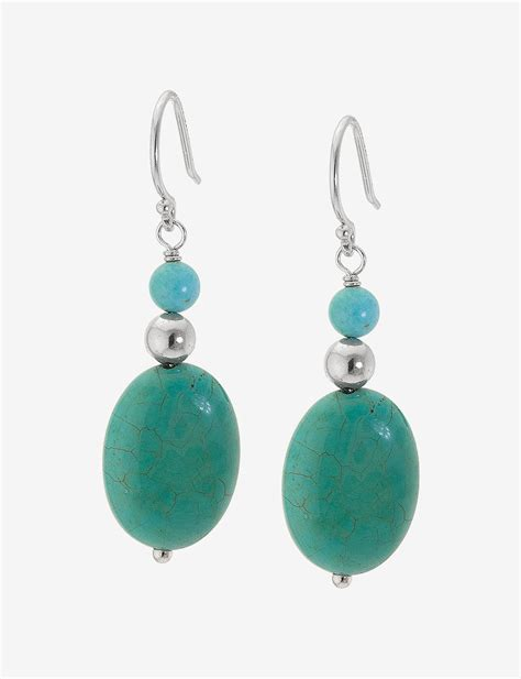 sterling silver oval drop earrings athra sterling silver turquoise oval bead drop