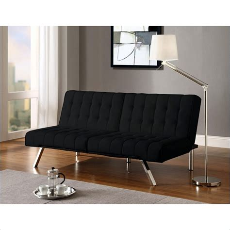 dhp emily futon sofa dhp emily faux leather splitback convertible black futon