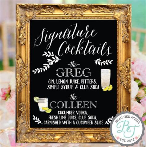 signature cocktails wedding chalkboard bar menu bride