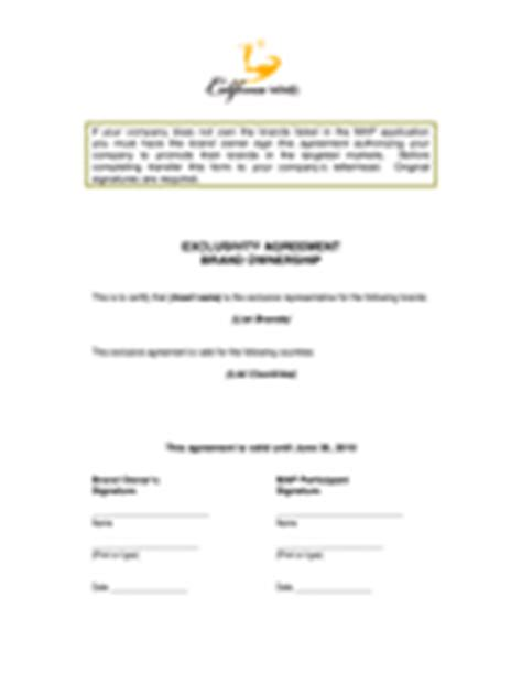 exclusivity agreement template download free documents