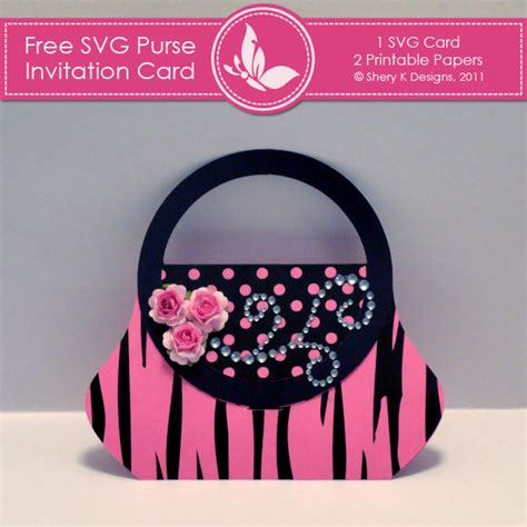 free svg card templates free svg purse invitation card shery k designs