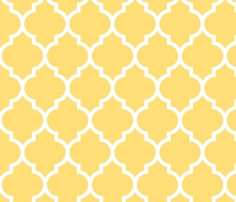 yellow moroccan pattern moroccan quatrefoil lattice in lemon yellow fabric by