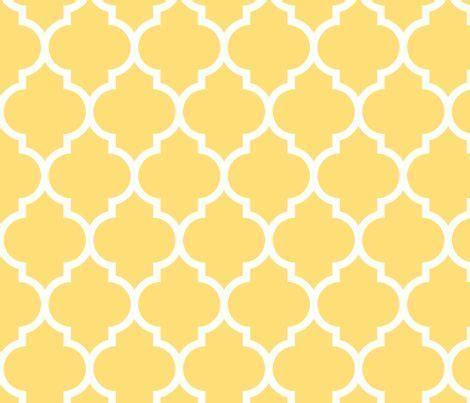 moroccan quatrefoil lattice in lemon yellow fabric by