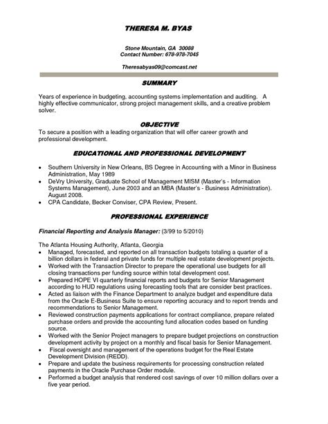 financial analyst resume sles financial analyst resume summary 28 images financial