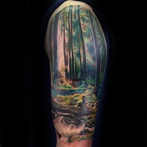 realistic forest half sleeve tattoo on gentleman tattoos
