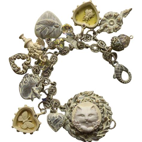 charm bracelet one of a artisan cameo cat from