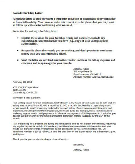 Hardship Letter For Assistance Sle Financial Hardship Letter 9 Exles In Word Pdf