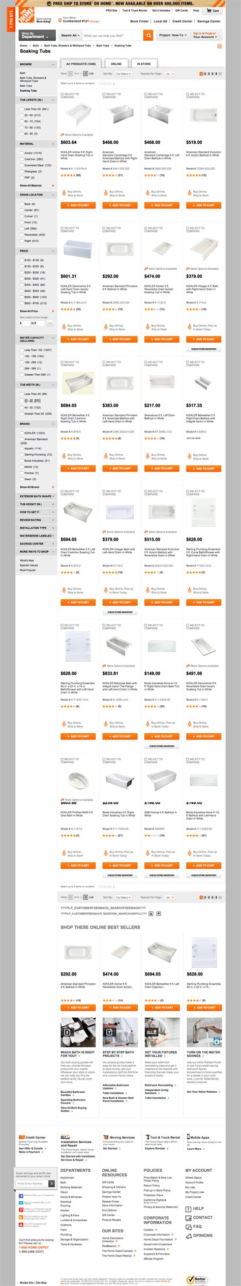 home depot product list images