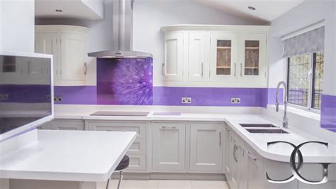 Led Back Splash quot purple dandelion quot printed glass kitchen splashback