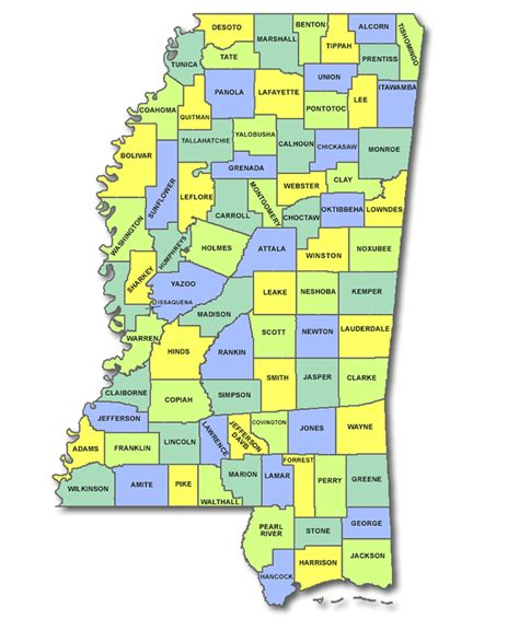 mississippi county map map of mississippi state with the counties and the county seats memes