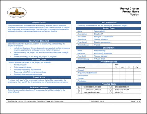 one page project charter template project charter