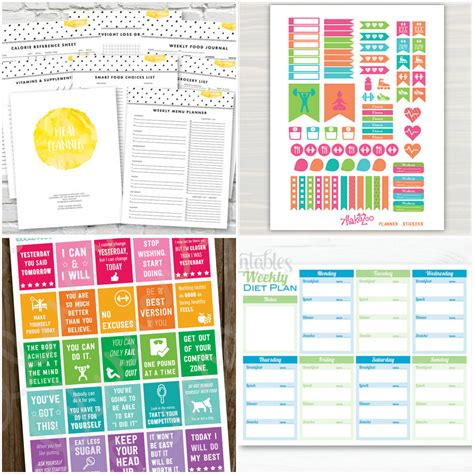 planner com printable health and fitness planners and printable