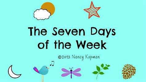 what are the 7 days of the seven days of the week by nancy kopman
