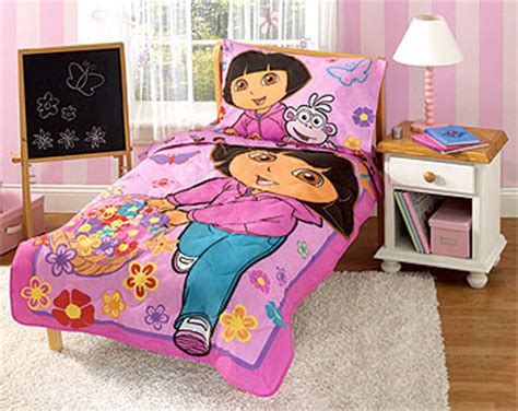 dora 4pc toddler bedding set girls bed comforter sheets ebay dora the explorer toddler bedding set 4pc dora comforter set