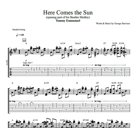 guitar tutorial here comes the sun quot here comes the sun quot by tommy emmanuel guitar tab