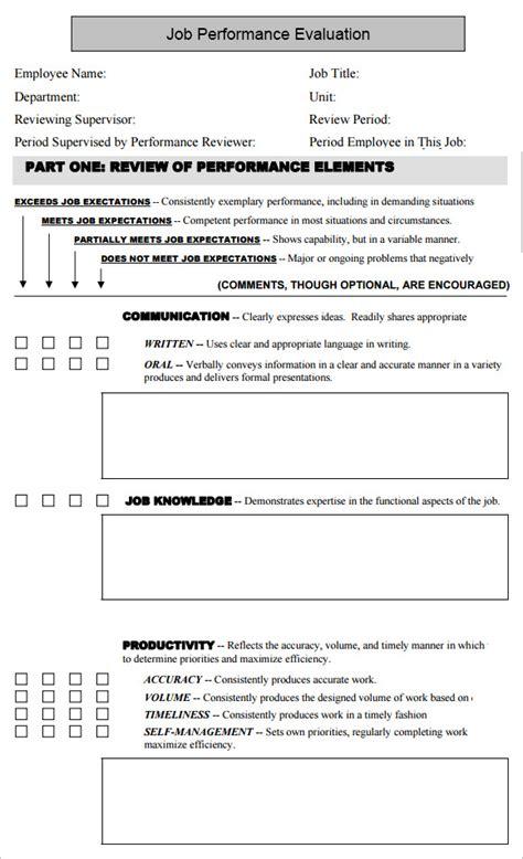 job performance evaluation   documents