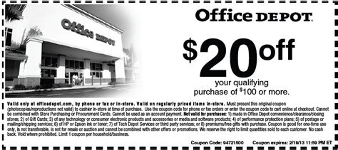 office depot printable coupons printing office depot 20 off 100 printable coupon
