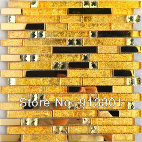 gold glass tile backsplash metallic mosaic tile backsplash pattern gold black metal
