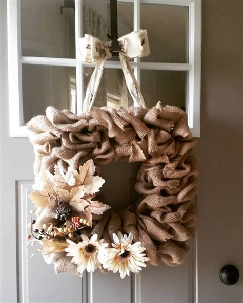 square wire form wreath  burlap  front door