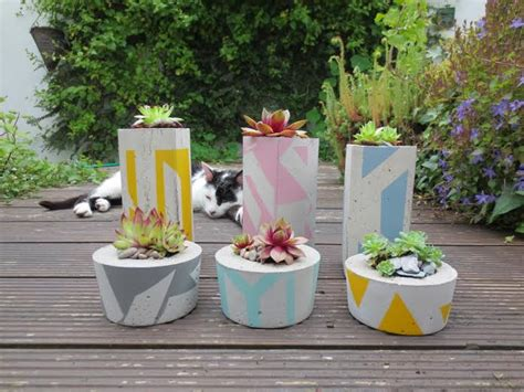 Small Concrete Planters by Small Concrete Succulent Planter Painted Jam