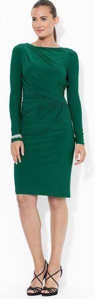 boat neck jersey dress ralph lauren lauren boat neck matte jersey dress in green