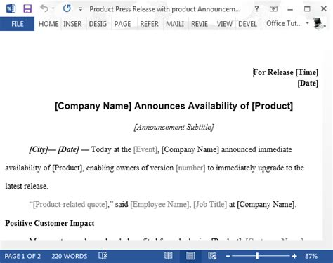 product press release template product launch press release sle for word