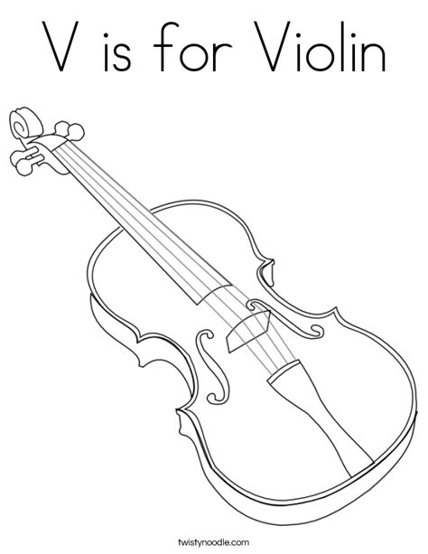 V Is For Coloring Page by V Is For Violin Coloring Page Twisty Noodle