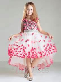 Cute pink butterflies embellishments high low asymmetry flower girl