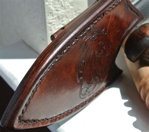 Handmade Leather Sheath - handmade leather knife sheath horizontal back mounted by