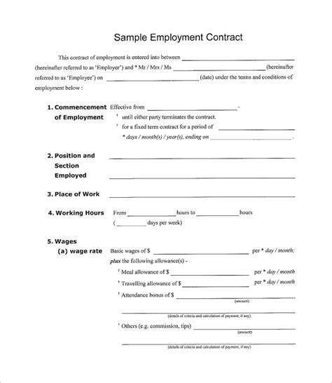 employment contract template pdf simple contract template 9 free documents in