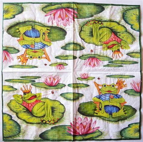 Napkin Decoupage Shop - decoupage napkins of frog on a lilypad